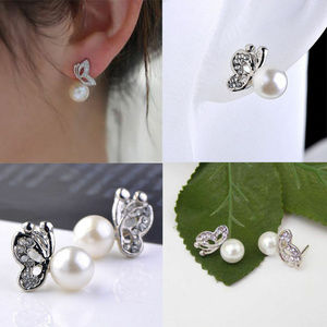 Jewelry - Crystal Butterfly Faux Pearl Ear Stud Earring Gift